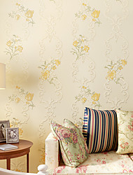 cheap -Floral Home Decoration Contemporary Wall Covering, Non-woven Paper Material Adhesive required Wallpaper, Room Wallcovering