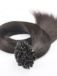 baratos -PANSY Queratina / Ponta U Extensões de cabelo humano Liso Cabelo Humano Cabelo Brasileiro Preto