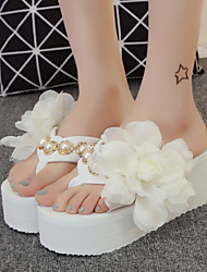Women's Shoes Fabric Platform Flip Flops Slippers Outdoor / Dress Black / Pink / White
