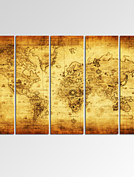 VISUAL STAR®Framed Vintage Wall Art for Home Decoration Map Giclee Print on Canvas Ready to Hang