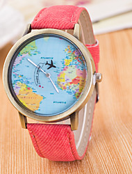 cheap -Men's Quartz Wrist Watch Sport Watch Large Dial Fabric Band Charm Dress Watch World Map Fashion Multi-Colored