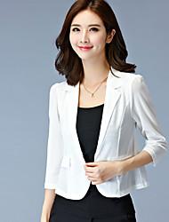 cheap -Women's Solid White / Black Blazer,Plus Size / Simple Shirt Collar ¾ Sleeve