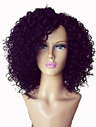 Women Human Hair Lace Wig Lace Front Glueless Lace Front 130% 150% Density Kinky Curly Wigs Dark Black Dark Brown Medium Brown natural