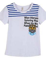 preiswerte -Jungen T-Shirt Alltag Gestreift Baumwolle Sommer Kurzarm Weiß