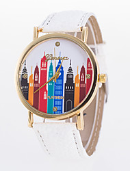 Fashion Casual Women's Wristwatch Ladies Watches  With  Skyscraper Buliding  Printed On Dial Quartz Lava Cool Watches Unique Watches