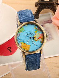 Women's Fashion Watch Quartz PU Band Vintage World Map Black White Blue Red Green Yellow