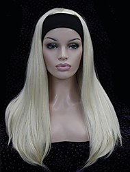 cheap -fashion half wig 3 4 wigs with headband long straight synthetic hair wig colour choices