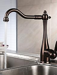 baratos -Clássica Bar / Prep Conjunto Central Rotativo Válvula Cerâmica Monocomando e Uma Abertura Bronze Polido a Óleo , Torneira de Cozinha