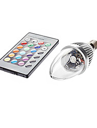 cheap -3W E14 LED Candle Lights C35 1 leds 450-700lm RGB Remote-Controlled AC 85-265