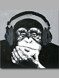 """cheap -Stretched (ready to hang) Hand-Painted Oil Painting 24""""x24"""" Canvas Wall Art Modern Pop Art Animals Monkey"""