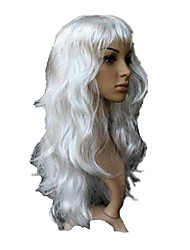 Cosplay Wig White Long Curly Wavy Wig Halloween Wig