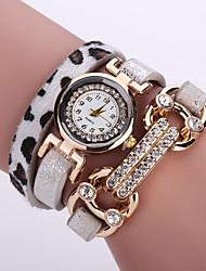 Women's Quartz Analog White Case Multilayer Leopard Leather Band Bracelet Wrist Fashion Watch Jewelry Cool Watches Unique Watches