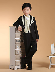 cheap -black/silver Black+Gloden Cotton Ring Bearer Suit - Six-piece Suit Includes  Jacket Waist cummerbund Vest Shirt Pants Bow Tie