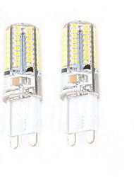 Недорогие -2pcs 2.5W 50-100 lm G9 Двухштырьковые LED лампы C35 64 светодиоды SMD 3014 Декоративная Тёплый белый AC 220-240V