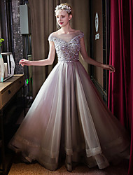 cheap -Ball Gown Illusion Neckline Sweep / Brush Train Tulle Formal Evening Dress with Beading Bow(s) Crystal Detailing Pearl Detailing Sequins