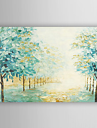 cheap -Hand Painted Oil Painting Landscape Mint Green Woods with Stretched Frame 7 Wall Arts®