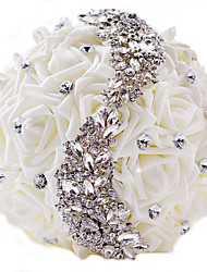 "cheap -Wedding Flowers Bouquets Wedding Party / Evening Rhinestone Polyester Satin 11.02""(Approx.28cm)"