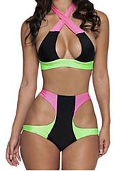abordables -Femme Couleur Pleine Licou Bikinis Maillots de Bain Blocs de Couleur Coupé Arc-en-ciel