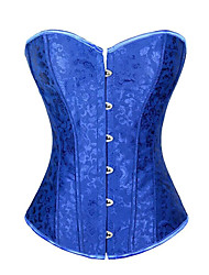 cheap -Women's Overbust Corset Nightwear,Sexy Jacquard-Medium Polyester Satin Blue