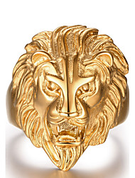 cheap -Men's Statement Ring - Stainless Steel Lion, Animal Fashion Golden For Christmas Gifts / Daily / Casual