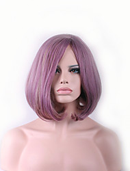 baratos -Perucas sintéticas Liso / Ondulado Natural Corte Assimétrico Cabelo Sintético Riscas Naturais Roxo Peruca Mulheres Curto Sem Touca