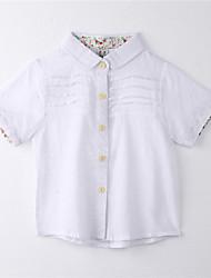 baratos -Para Meninas Camiseta Verão Algodão Manga Curta Floral Branco