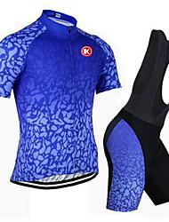 abordables -KEIYUEM Manches Courtes Maillot et Cuissard à Bretelles de Cyclisme - Bleu Vélo Ensemble de Vêtements, Séchage rapide, Respirable,