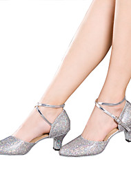 cheap -Women's Latin Sparkling Glitter Paillette Synthetic Sandal Heel Sneaker Indoor Sequin Appliques Sparkling Glitter Ruffles Ruched