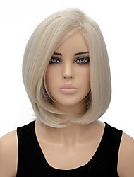 Fashion Natural White Color Bobo Straight Wig Synthetic Wigs