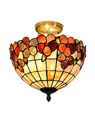 cheap -12 inch Retro Tiffany Ceiling Lamp /Shell Shade Flush Mount Living Room Dining Room light Fixture