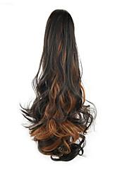 economico -24 pollici Nero / Media Browm Con clip Ondulato Code Bear Claw / Jaw Clip Sintetico Pezzo di capelli Estensione capelli