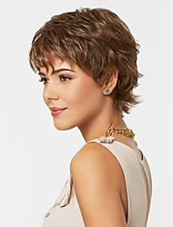cheap -Synthetic Wig Curly Synthetic Hair Brown Wig Capless