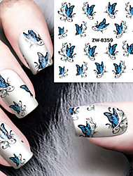 cheap -Fashion Printing Pattern Water Transfer Printing  Blue Butterfly Nail Stickers