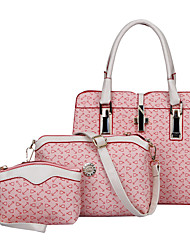 Women Bags All Seasons PU Bag Set 3 Pcs Purse Set for Shopping Casual Formal Office & Career Beige Blue Blushing Pink