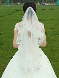 cheap -Two-tier Lace Applique Edge Wedding Veil Fingertip Veils 53 Satin Flower Ruched Tulle