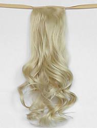 onda di acqua beige bionda sintetico tipo benda parrucca di capelli coda di cavallo (colore 613)