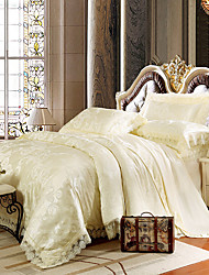 Light Yellow Bedding Set Queen King Size Luxury Silk Cotton Blend Lace Duvet Cover Sets Jacquard Pattern