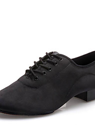 "cheap -Men's Latin Modern Silk Canvas Heel Indoor Lace-up Low Heel Black 1"" - 1 3/4"" Non Customizable"