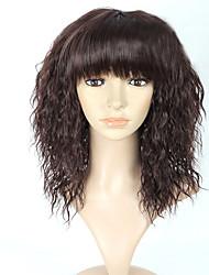 billige -Syntetiske parykker Lige Yaki Massefylde Lågløs Dame Sort Carnival Paryk Halloween Paryk Medium Syntetisk hår