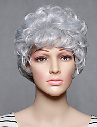 abordables -Mujer Pelucas sintéticas Corto Ondulado Blanco Peluca de Halloween Peluca de carnaval Pelucas para Disfraz