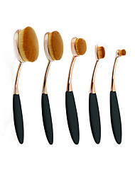 5Pc/Set Pro Gold Black Oval Women Face Powder Foundation Eye Shadow Blusher Toothbrush Shape Curve Brushes Makeup Tools