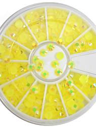 cheap -1pcs 4mm Round Bowl Nail Art Lemon Yellow Flat Rhinestones Nail Art DIY Decoration NC307