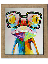 High Skills Artist  Hand-painted Frog Oil Painting On Linen With Frame Handmade Abstract Painting For Office Decoration