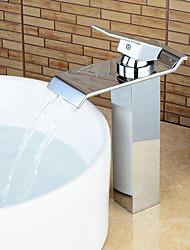 abordables -Contemporain Set de centre Cascade with  Valve en céramique Mitigeur un trou for  Chromé , Robinet lavabo