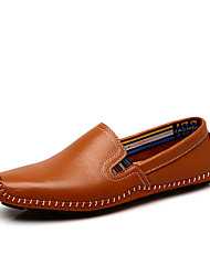 Men's Loafers & Slip-Ons Spring Summer Moccasin Comfort Leather Office & Career Casual Flat Heel Light Brown Blue Black