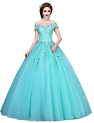 cheap -Ball Gown Princess Off-the-shoulder Floor Length Tulle Formal Evening Dress with Appliques Crystal Detailing by SG