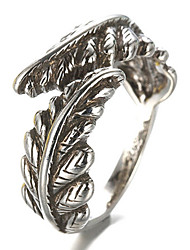 cheap -Antique Silver Vintage Style Leaf Open Band Midi Ring for Men/Women Jewelry