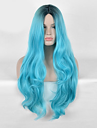 Capless Bule And Black color High Quality Synthetic Body Wave Synthetic Wigs