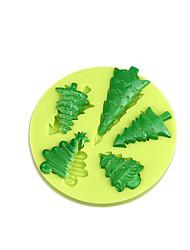 economico -Fondulato torta decorazione strumenti stampo silicone albero di natale per cupcake candy cioccolato sapone argilla fimo resina colore casuale