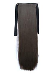 economico -24 pollici Cenere marrone Con clip Dritto Code Con nastro Sintetico Pezzo di capelli Estensione capelli